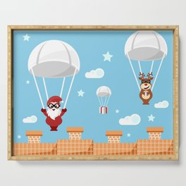 Santa Claus and reindeer parachutists delivering presents Serving Tray