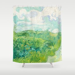 Green Wheat Fields - Auvers, by Vincent van Gogh Shower Curtain