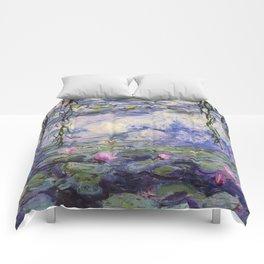 1917 Water Lilies oil on canvas. Claude Monet. Vintage fine art. Comforters