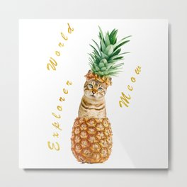 Cute Cat in Pineapple Metal Print