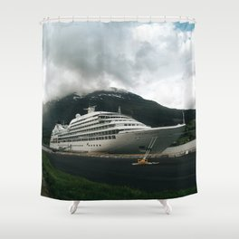 Cruise ship moored on norwegian fjord Shower Curtain