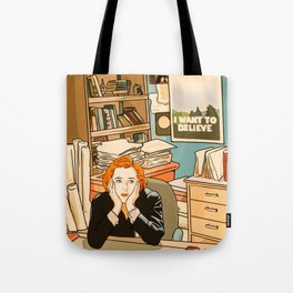 Dana Scully sit to the Fox Mulder's office Tote Bag