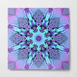 Kaleidoscope Patterns in purple, pink and mint Metal Print