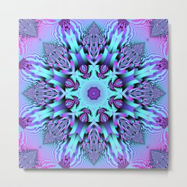 Kaleidoscope Patterns in purple, pink and mint Metal Print