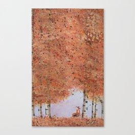 Autumn Birch Fox Canvas Print
