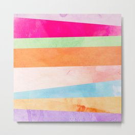 Modern Abstract Rainbow Watercolor Stripes Pattern Metal Print