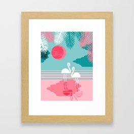 Chill Vibes - memphis retro throwback 1980s 80s neon pop art flamingo paradise socal vacation Framed Art Print