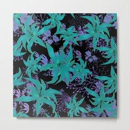 Purple blue floral pattern Metal Print