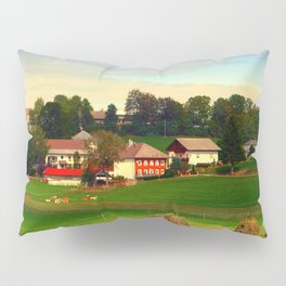 Hay bales and country village | landscape photography Pillow Sham