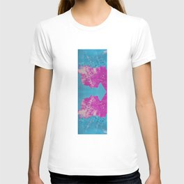 Blue and Pink Litho Print T-shirt