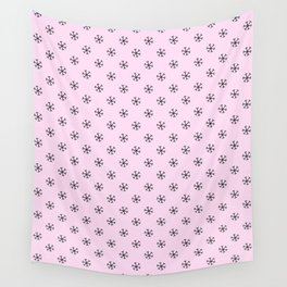 Black on Pink Lace Pink Snowflakes Wall Tapestry