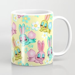 Bunnies and Daisies on Yellow Coffee Mug