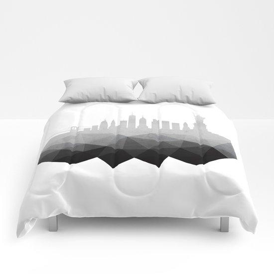 New York concrete silhouette Comforters