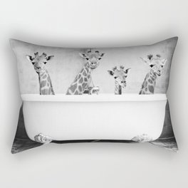 Four Giraffes in a Bath (bw) Rectangular Pillow