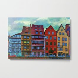 Colorful Painting Of German Architecture By Liane Wright Metal Print