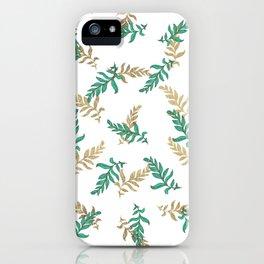 Elegant gold green hand drawn botanical leaves iPhone Case