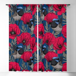 Fairy wren and poppies Blackout Curtain