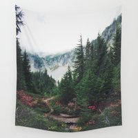 mountain Wall Tapestries featuring Mountain Trails by Kurt Rahn