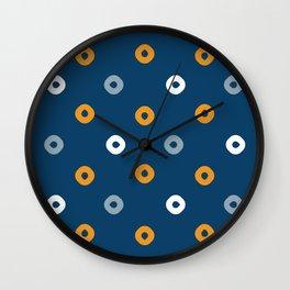 Pattern Play:  Blue Polka Dots Wall Clock
