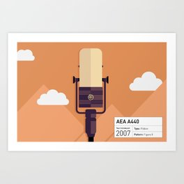 AEA A440 Microphone Illustration Print Art Print