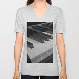Keyboard of a black piano - 3D rendering Unisex V-Neck