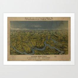 Vintage Bird's Eye Map of Tennessee & Kentucky (1862) Art Print