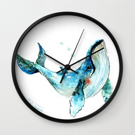 Humpback Whale Artwork Children Illustration Cute little Whale Wall Clock
