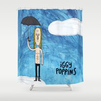iggy azalea Shower Curtains featuring Iggy Poppins by Levedad