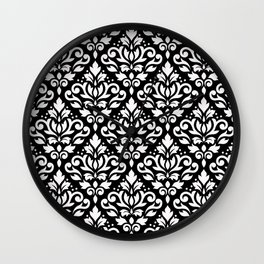Scroll Damask Pattern White on Black Wall Clock