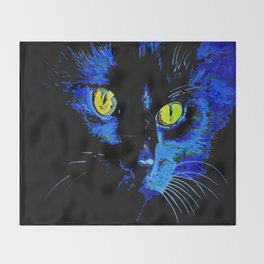 Marley The Cat Portrait With Striking Yellow Eyes Throw Blanket