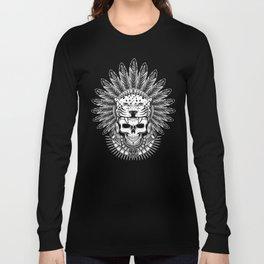 Aztec Jaguar Warrior Skull Long Sleeve T-shirt