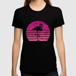 Flamingo Flamingos Walk Pink Colorful Retro Gift T-shirt