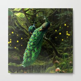 Peacocks in an enchanted forest Metal Print