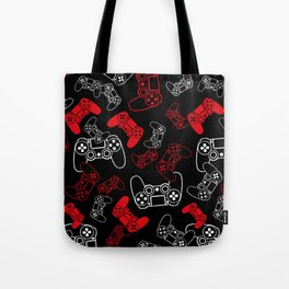 Video Games Red on Black Tote Bag