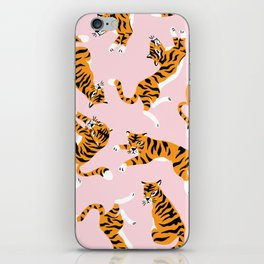 Cute tiger in the tropical forest hand drawn on pink background illustration iPhone Skin