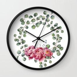 Watercolor Eucalyptus Wreath Wall Clock