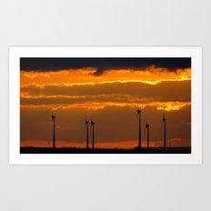 MM - Wind turbines in the sunset Art Print