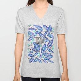 Happy Sloth – Tropical Blue Leaves Unisex V-Neck