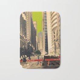 Downtown Chicago photography digitally reimagined - modern Chicago skyline in pop art Bath Mat