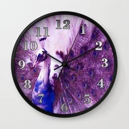 White Purple Peacock Wall Clock