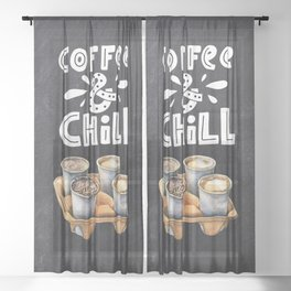Coffee blackboard lettering — Coffee & Chill Sheer Curtain