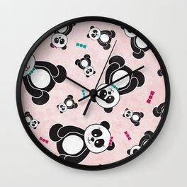 Panda Freefall in Pink Wall Clock
