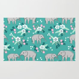 Elephants cute pattern florals good luck flowers and baby animals Rug