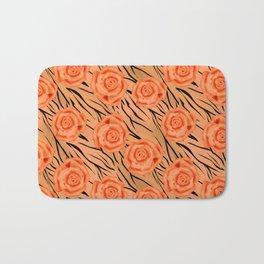 Orange roses on tiger pattern . Bath Mat