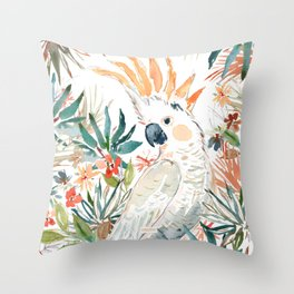 CLEMENTINE the Citron-Crested Cockatoo Throw Pillow