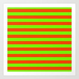 Super Bright Neon Orange and Green Horizontal Beach Hut Stripes Art Print