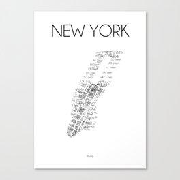 CityStations - New York Subway. Minimalist map. Canvas Print
