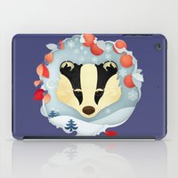 badger iPad Cases featuring Snowy Badger by Compassion Collective