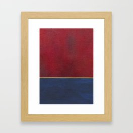 Deep Blue, Red And Gold Abstract Painting Framed Art Print