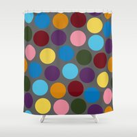 polka dots Shower Curtains featuring Polka dots by Bunyip Designs